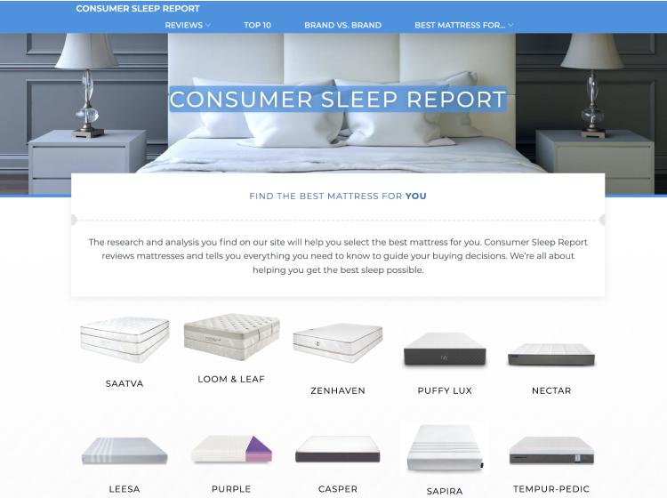 Project Screenshot - https://consumersleepreport.com