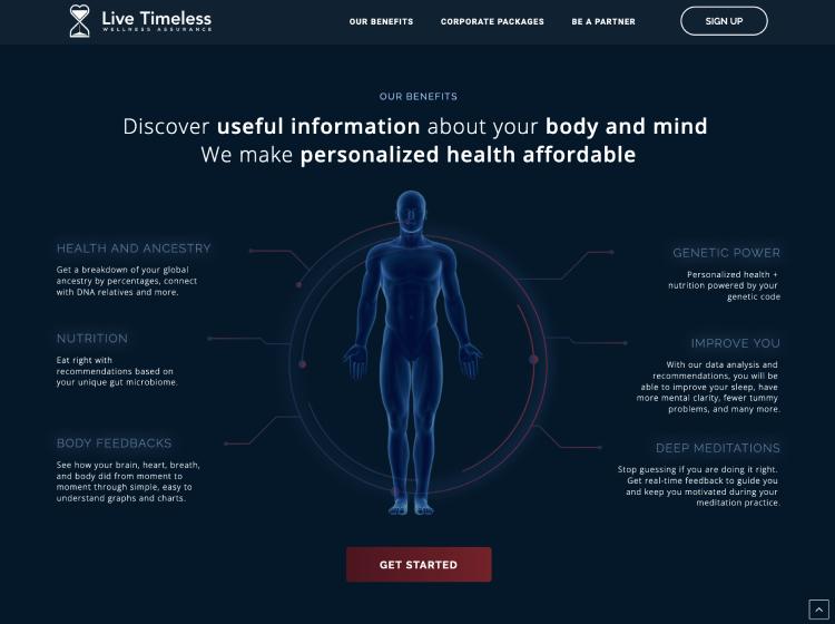 Project Screenshot - https://www.livetimeless.com
