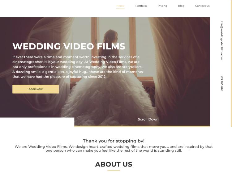 Project Screenshot - https://weddingvideofilms.com